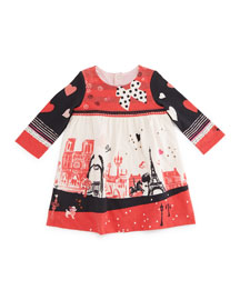 Long-Sleeve Paris Jersey Dress, Dark Orange, Size 6M-2