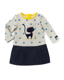 Jersey & Chambray Long-Sleeve Combo Dress, Gray/Blue, Size 6M-2
