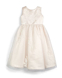 Sleeveless Lace-Trim Satin & Tulle Dress, Petal/Ivory, Size 4-8