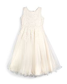 Sleeveless Beaded Lace & Tulle Dress, Ivory, Size 7-14