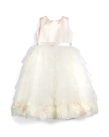 Sleeveless Satin & Tiered Tulle Dress, Petal/Ivory, Size 2-6X