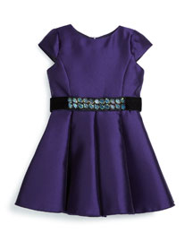Cap-Sleeve Belted Satin Swing Dress, Purple, Size 7-14