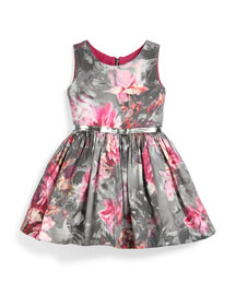 Sleeveless Floral A-Line Dress, Pink/Gray, Size 7-14