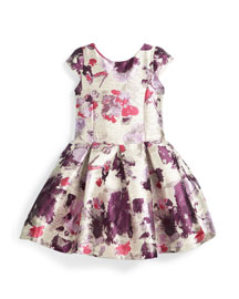 Cap-Sleeve Floral Brocade Dress, Silver/Purple, Size 2-6