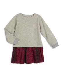 Luxe Mixed-Media Dress, Steel, Size 2-6