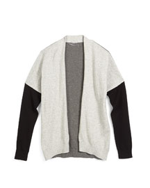 Open-Front Colorblock Cardigan, Steel, Size S-XL