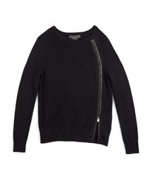 Asymmetric-Zip Pullover Sweater, Black, Size 2-6