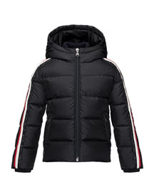 Odile Hooded Down Coat, Navy, Size 4-6