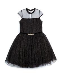 Glittered Cap-Sleeve Tulle Dress, Black, Size 8-14