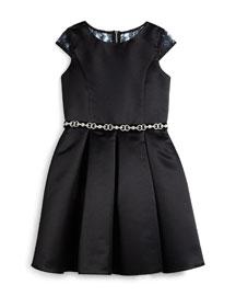 Pleated Satin Lace-Trim Dress, Black, Size 8-14