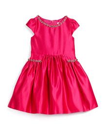 Cap-Sleeve Satin A-Line Dress with Rhinestones, Fuchsia, Size 2-6
