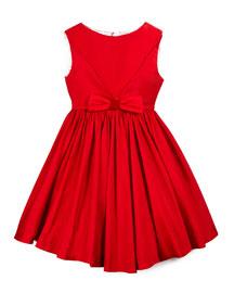 Sleeveless Taffeta Party Dress, Red, Size 7-14