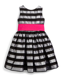 Sleeveless Striped Silk Organza Dress, Silver, Size 2T-6