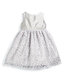 Sleeveless Satin & Lace Party Dress, Silver, Size 2T-6
