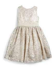 Sleeveless Sequin Party Dress, Ivory/Pewter, Size 4-6X