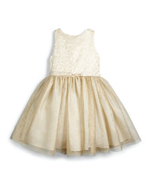 Sleeveless Brocade & Tulle Party Dress, Gold, Size 4-6X