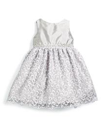 Sleeveless Satin & Lace Party Dress, Silver, Size 7-14