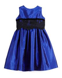 Sleeveless Lace-Trim Party Dress, Royal, Size 7-14