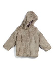 Hooded Rabbit-Fur Coat, Light Gray, Size 2-16