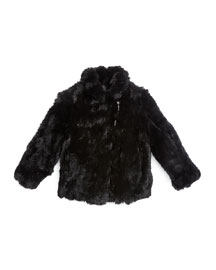 Rabbit-Fur Biker Jacket, Black, Size 2-14