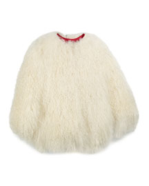 Snap-Front Shearling Fur Coat, Ivory, Size 2-16