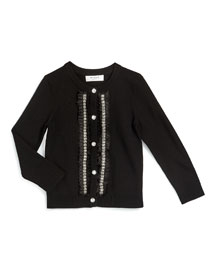 Embellished Button-Front Cardigan, Black, Size 4-7