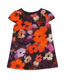 Cap-Sleeve Floral Shift Dress, Burgundy, Size 8-14