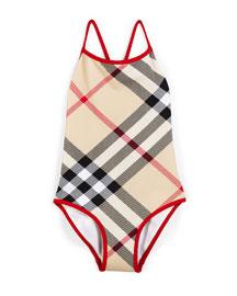 Saba Check-Print Swimsuit, Tan, Size 4Y-14Y