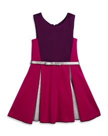 Sleeveless Belted Colorblock Pleated Dress, Berry, Size 2-6