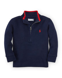 French-Rib Pullover Sweater, French Navy, Size 9-24 Months