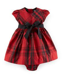 Plaid Taffeta Dress & Bloomers, Red/Black, Size 9-24 Months