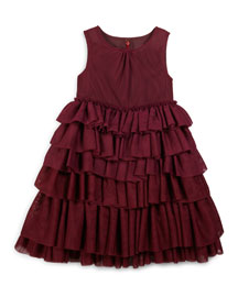 Anjie Sleeveless Tiered Ruffle Dress, Burgundy, Size 4-14