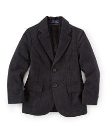 Princeton Cotton-Blend Two-Button Blazer, Black, Size 2-7