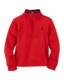 Ribbed Half-Zip Pullover Sweater, Size 2-7