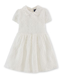 Pointelle-Knit Cashmere A-Line Dress, Warm White, Size 2-6X