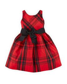 Sleeveless Plaid Taffeta Dress, Red/Black, Size 2-6X