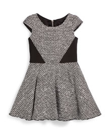 Tweed Cap-Sleeve Swing Dress, Black/White, Size 7-14