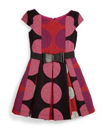 Pleated Polka-Dot Dress, Multicolor, Size 7-14