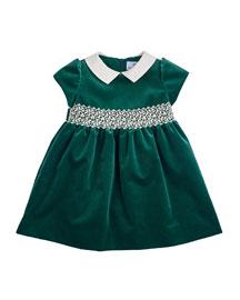 Velvet Cap-Sleeve Dress, Green, Size 3-24 Months