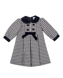 Long-Sleeve Pleated Gingham Dress, Black/White, Size 3-18 Months