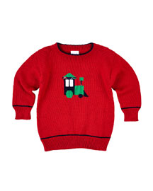 Cotton Train Pullover Sweater, Red, Size 2-4