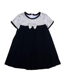 Sequin-Trim Velvet Dress, Black, Size 2-6