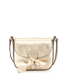 Girls' Mini Leather Crossbody Bag, Gold