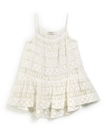 Crochet High-Low Coverup, White, Size 4-7