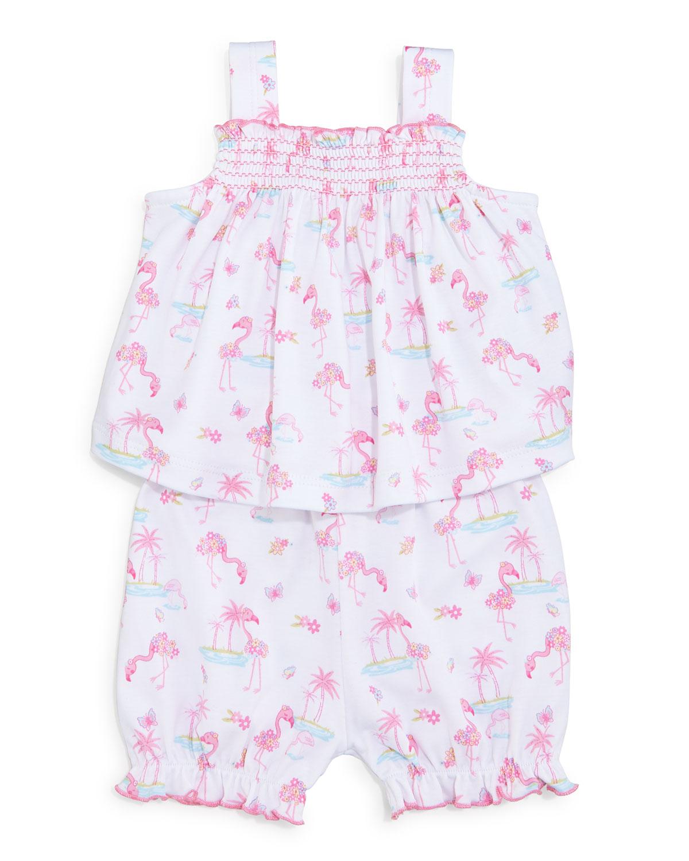 Kissy Kissy Flamingo Island Pima Sunsuit, Pink, Size 9-24 Months, Size: 18-24 Months