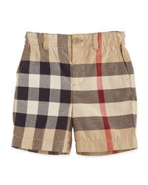 Sean Cotton Check Shorts, Tan, Size 3M-3