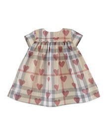 Maud Check & Heart Dress, Tan/Pale Pink, Size 3-24 Months