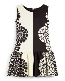 Sleeveless Floral Fit-and-Flare Dress, Black/Cream, Size 7-14