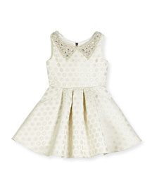 Embellished Metallic Polka-Dot Swing Dress, Ivory, Size 2-6