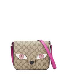 Girls' GG Supreme Leather-Trim Cat Messenger Bag, Beige/Rosette